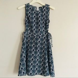 H&M Blue/White Paisley Dress w/ side lace up